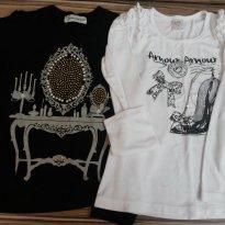 dupla de blusinhas manga longa usadinhas - 8 anos - gabriela aquarela e outra
