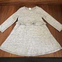 Vestido cinza mescla babado - 4 anos - Baby Gap