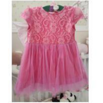Vestido Rosa - Tule e Renda - 12 a 18 meses - Sem marca