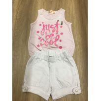 Conjunto branco com rosa - 3 anos - Sem marca