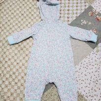 Macacão florido azul claro e rosa - 0 a 3 meses - Carter`s