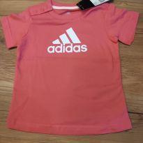 Camisetinha  manga curta com botão na gola, Rosa, nova, com etiqueta - 6 a 9 meses - Adidas