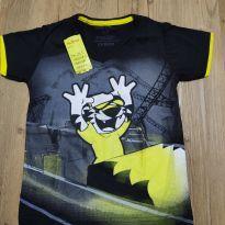 Camiseta manga curta Tigor preta, com gola V, Tam 4, nova com etiqueta - 4 anos - Tigor T.  Tigre