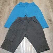 2 Calças moletom marrom e azul, tam P - 3 meses - Kyly e Alenice