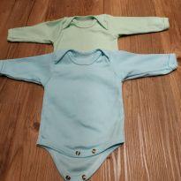 Body manga longa tam RN, azul e verde - 0 a 3 meses - Lua da Lenda/ top chot