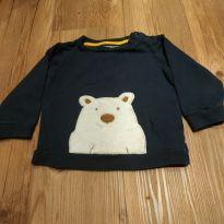 Moletom manga longa, urso polar, azul escuro, tam 12 a 18 meses - 12 a 18 meses - Baby Club