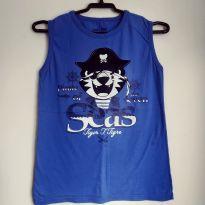Camiseta regata azul Tigor Pirata - 12 anos - Tigor T.  Tigre