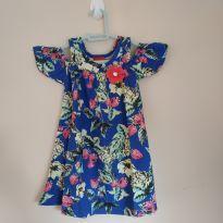 Vestidinho de verão floral azul escuro tam 1, lindo, novo com etiqueta - 1 ano - Kyly