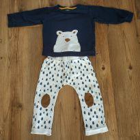 Conjunto moletom manga longa, urso polar, azul escuro, tam 12 a 18 meses - 12 a 18 meses - Baby Club