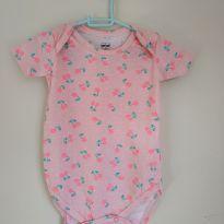Body lindo, rosa, com estampas de cereja, tam 9-12 meses - 9 a 12 meses - Tip Top
