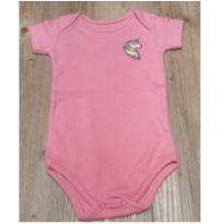 Body manga curta rosa com aplique de unicórnio, tam GG (9-12 meses) - 9 a 12 meses - Santa Maria