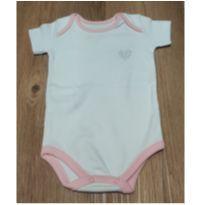 Body manga curta branco com detalhes rosa NOVO - 3 a 6 meses - Santa Maria