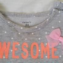 Blusa frio Carters poá e laço rosa - 2 anos - Carter`s