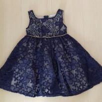 Vestido azul marinho bordado - 3 anos - Luluzinha