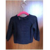 Blusa lã azul maeinho com flor zara - 18 a 24 meses - Zara Baby