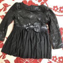 Vestido de festa preto com laço - 9 a 12 meses - Nosh