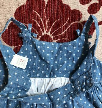 Vestido alçinha jeans com bolinha branca zara - 6 a 9 meses - Zara Baby