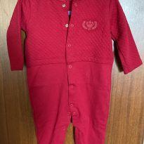 Macacão vermelho algodão egípcio - 6 a 9 meses - GROW UP BABY
