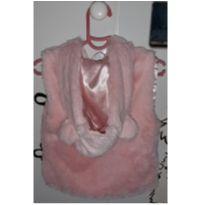 Colete plush rosa com touca - 2 anos - Caedu