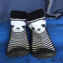 Meia Infantil Pimpolho C/ Sola DE BORRACHA  e Cano Médio (panda) - tamanho 22 - 22 - Pimpolho