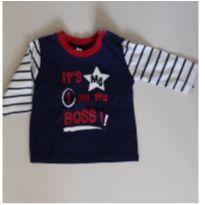 Camisa manga longa little boss - 0 a 3 meses - Newborn