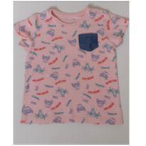 Camisa com bolso jeans manga curta rosê - 2 anos - Baby Club