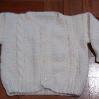 blusa lã bege feita a mão - 3 meses - Não informada