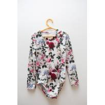 Body estampa floral manga longa - 6 anos - Kiki Xodó