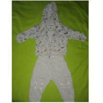 Conjunto infantil casaco e calça em moletom cinza - 3 a 6 meses - Baby Club