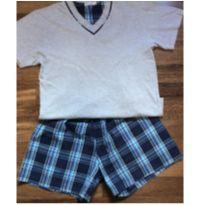 Pijama Xadrez azul - 10 anos - pijamania