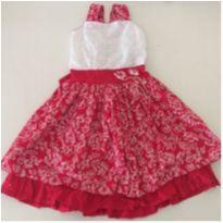Vestido vermelho com flores branca - 4 anos - Marca não registrada