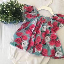 Conjunto floral verde e rosa - 3 a 6 meses - Keko Baby