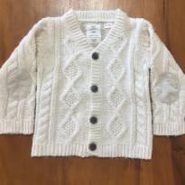casaco Zara em tricô com cotoveleira, cor creme muito quentinho e fofinho! - 18 a 24 meses - Zara