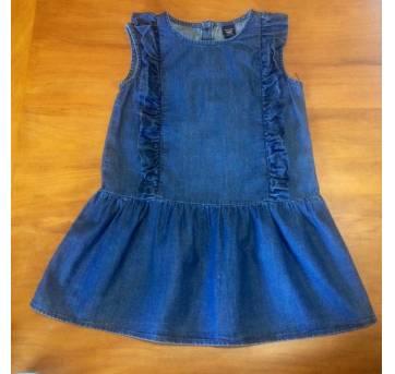 Vestidinho jeans com detalhes de babadinhosuma graça! - 3 anos - Baby Gap
