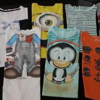 Lote com 8 camisetas menino manga curta - 1 ano - Diversas