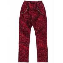Calça de Veludo Animal Print Vermelha
