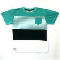 Camiseta com recortes branca/verde/azul - 8 anos - Randa Mundu