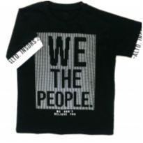 Camiseta Preta Com Silk em Relevo - 12 anos - MC
