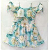 Vestido de Festa azul floral - 6 anos - Carinhoso
