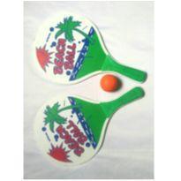 Frescobol em madeira e bola de borracha