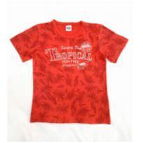 Camiseta vermelha tropical - 10 anos - Abrange
