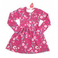 Vestido Manga Longa Floral Rosa - 8 anos - Brandili