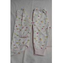 Pijama 100% algodão rosa - 3 a 6 meses - Lua da Lenda