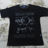 Camiseta preta Skaters - 6 anos - Alakazoo!