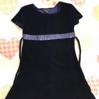 Vestido Azul Veludo molhado - 4 anos - George