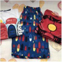 Kit bermuda pranchas + 2 camisetas - 10 anos - Zig Zig Zaa