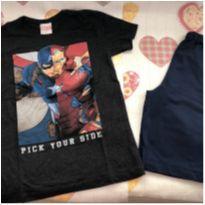 Kit bermuda + camiseta Marvel - 10 anos - Não informada