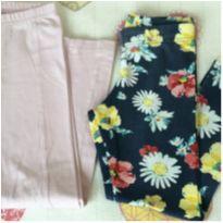 Kit 2 calças legging Tam 4 Rosa bebê e florzinhas - 4 anos - Pituchinhus e Malwee