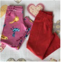 Kit 2 calças legging Tam 4 vermelha e passarinhos - 4 anos - Malwee e Milon