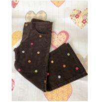 Calça veludo marrom com florzinhas bordadas - 4 anos - Gymboree